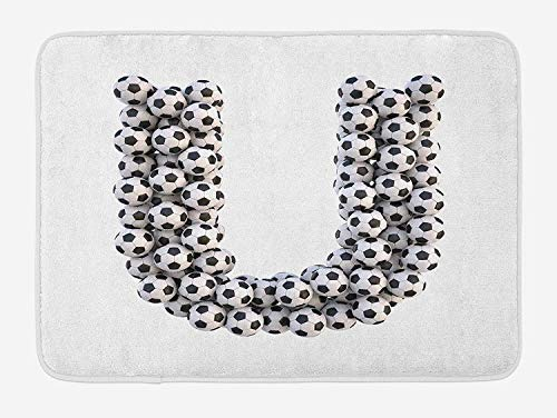 BBABYY Letter U Bath Mat, Stack of Soccer Balls with U Shape Alphabet in Football Theme Outdoor Sports, Plush Bathroom Decor Mat with Non Slip Backing, 23.6 W X 15.7 W Inches, Black and White -
