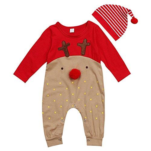 Hzjundasi Bambino Vestiti di Natale Neonati Ragazzi Ragazze Babbo Alce Manica Lunga Pagliaccetto Tutine + Cappello Sets Bambini Infantile Inverno Autunno Natale Festa Outfits