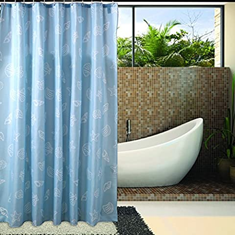 ZXLDP Duschvorhänge Badezimmer Duschvorhänge Wasserdichte Feuchtigkeit Thicker Blue Shells Polyester Schwere Blei Fall mit Haken (Größe optional) Badezimmerzubehör ( größe : 200*230cm )