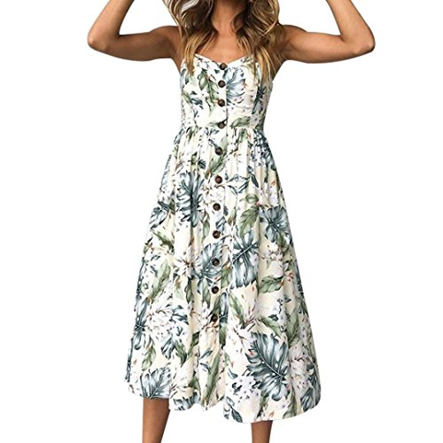 Janly® Dress Woman Holiday Strappy Swing Dress for Ladies Maxi Printing Buttons Pockets Dresses