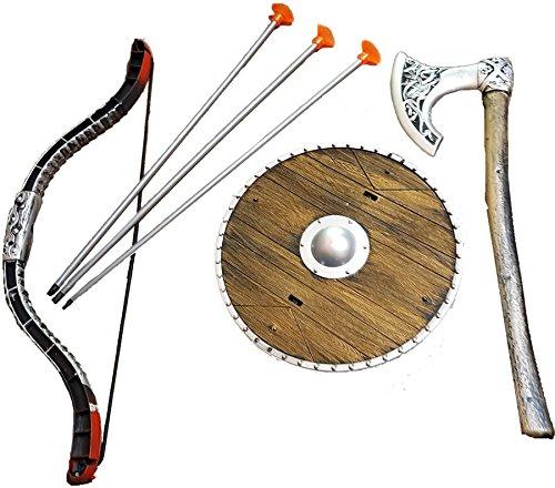 ikinger-Schild Wikinger-Beil Bogen Pfeilen Set Wikinger zu Wikinger-Kostüm Karneval (Wikinger Kostüm Zubehör)