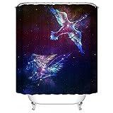 """HUIYIYANG Tenda da Doccia Personalizzata,Constellation Star Cluster sullo Space Galaxy Cosmic Artsy Design Tenda da Doccia Impermeabile in Poliestere Anti-Muffa per Bagno 60"""" x 72""""(150x180)"""