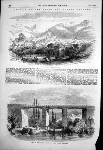 Antiker Druck Bahn-Lausanne Poudriere Viadukts Venoge 1855 Berns Genf