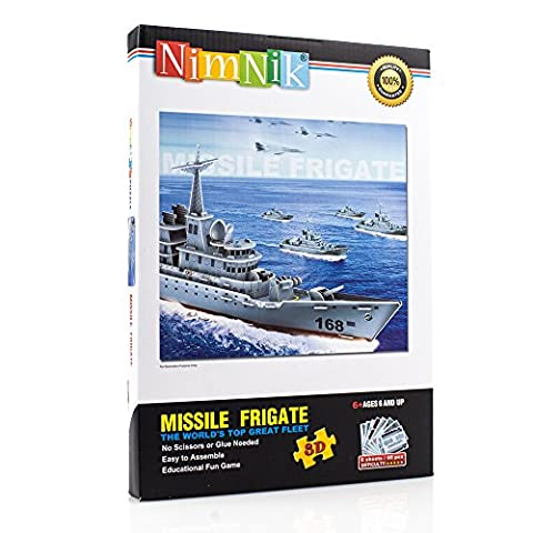 3D Puzzles for Kids - Ships Frigate Educational Fun Construction 3d Jigsaw Puzzle for Boys, Girls and Teenagers 48 pcs