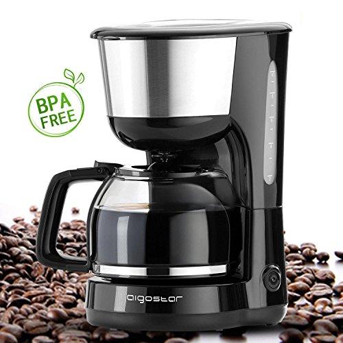 Aigostar Chocolate 30HIK – Máquina de café, 1000W cafetera de filtro color negro, con filtro reutilizable y función de mantener caliente. Capacidad de 1,25 litros y libre de BPA. Diseño exclusivo.
