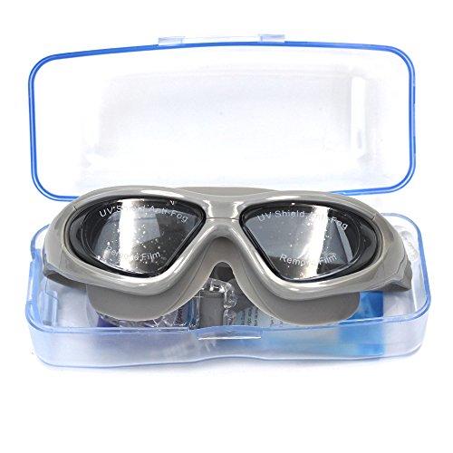 MMBox Schwimmbrille Weiche Silikon Schwimmen Brille kein Auslaufen Anti Nebel UV-Schutz mit gratis Schutzhülle für Erwachsene Herren Damen, schwarz