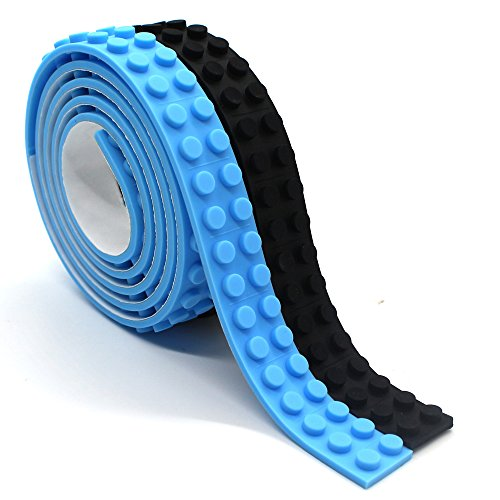 Wiederverwendbar Silikon Selbstklebend Baustein Klebeband, Kompatibel mit Lego Bausets, Pädagogisches Spielzeug zum Anregen der Vorstellungskraft, 2 Bolzen (Schwarz + Hellblau)