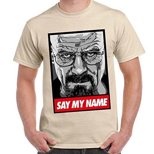 CHEMAGLIETTE! - Maglietta Breaking Bad Heisenberg Say My Name T-Shirt Maglia Maniche Corte Uomo, Colore: Sabbia, Taglia: XL