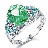 hutang Jewelry 6,16quilates anillo de cóctel auténtica plata de ley Verde Fluorita