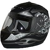 Protectwear Casque de moto intégral, noir mat / flammes grises, H-510-GR, Taille: L