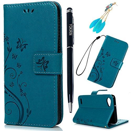 LG Q6 Hülle Case Tasche YOKIRIN Schutzhülle für LG Q6 Lederhülle Flipcase Handyschale Schmetterling Blume PU Leder Schale Handyhülle Klapphülle Etui in Standfunktion Kredit Kartenfächer Magnetverschluss Blau