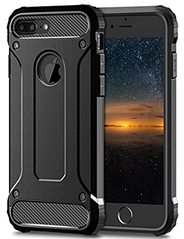 iPhone 8 Plus 7 Plus Tough Case, Fone-Stuff® - 2 Layer X-Armor Shell Hard Back Cover – Black