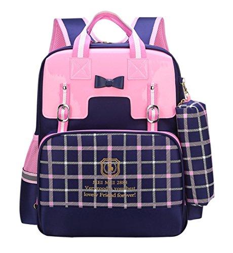 Qxmei zaino di scuola elementare zaino scuola ragazza 1-3-6 grado studente leggero sacchetto di scuola carino principessa impermeabile regalo zaino,blue-small