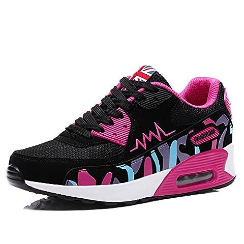 Wealsex Baskets Chaussures Jogging Course Gym Fitness Sport Lacet Sneakers Style Running Multicolore Respirante Femme(noir et rose/mesh ,39)