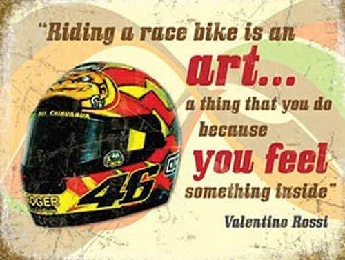 Valentino Rossi Casco, Moto Da Corsa Con frase, Bici Da Corsa Metallo/Insegna In Acciaio - 15 x 20 cm