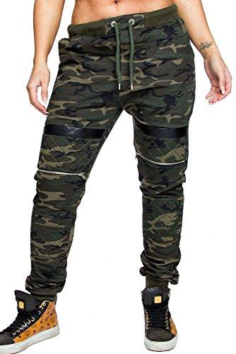 Amaci Damen Camouflage Zipper Stepp Karo Opulence Sporthose Jogginghose Trainingshose 2009D Camo Khaki L