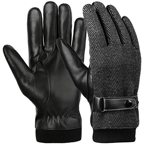 Vbiger Touchscreen Handschuhe Warme Winterhandschuhe Herren Handschuhe Outdoor Handschuhe Warme Handschuhe mit Fleecefutter, Schwarz-2, M