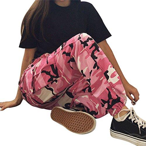 Damenbekleidung Damenhosen Sporthosen hosen JYJM Frau Tarnung gedruckt Jeans Harem Hosen Frauen Sport Camo Cargo Hosen Outdoor Casual Camouflage Hosen Jeans (L, Rosa) (Set Capri-hosen Denim)