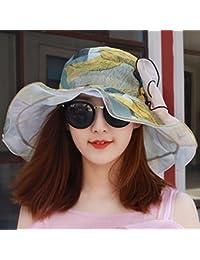 HAPPY-Cap Sombrero de Playa y Visera Femenina de Primavera y Verano. Gorra  de 0353133b5f9