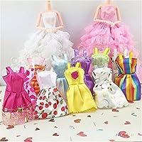 timeracing 10Pcs Barbie Doll Mixed Colors Styles Toy Clothes Tutu Princess Dresses