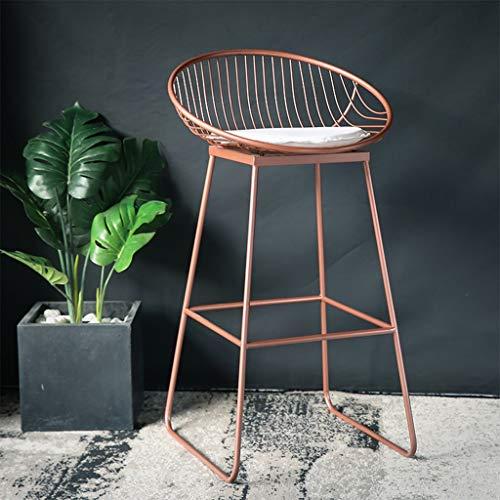 Preisvergleich Produktbild Qing MEI Nordic Barhocker Barhocker Schmiedeeisen Hocker modernen minimalistischen lässig Metall Stuhl Gold und Rotgold 42 / 62 / 72cm A++ (Farbe : B: Rose Gold,  größe : 42cm)