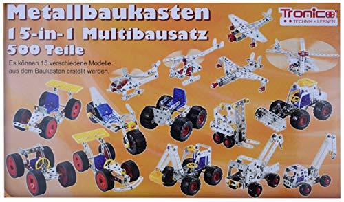 Metallbaukasten 15-in-1 Multibausatz 500 Teile von Tronico 15 Verschiedene Modelle