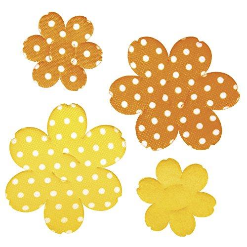 Rayher - 55568000 - Stoff Streuteil: Blüte, m. 2 Schlitzen, 3,5+5,5cm, 2 Größen, SB-Btl 4Stück, gelb/orange - 568 Sb