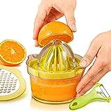chaobai Spremiagrumi Manuale pressa Limetta Limone Arancione agrumi Arancio con 2 Alesatori e Contenitore Peeler di 400ml Misurazione Verde