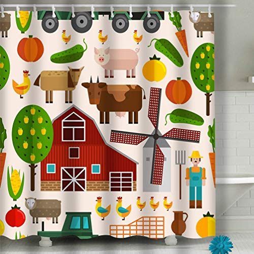 Fabric Shower Curtain, Long Water-Repellent and Mold- and Mildew-Resistant Liner for Master, Guest, Kid's, College Dorm 60x72 INCH flat farm buildings trees animals products characters -