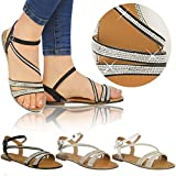 New Ladies Womens Flat Strappy Peep Toe Diamante Ankle Strap Summer Sandals Size