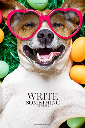 064121de Notebook - Write something: Funny jack russell easter bunny dog with eggs  around on grass