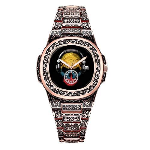 Herrenkollektion Rose Gold Heavy Duty Skull Watch 026.Kundengerechter kolumbianischer DJ-Schädel mit Kopfhörern Armbanduhren