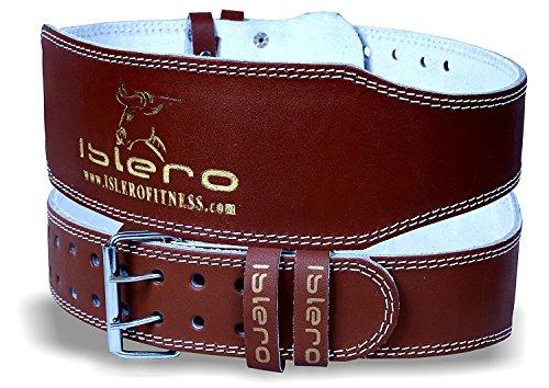 Islero 10,2cm aus reinem Leder Gym Gürtel Gewichtheben Riemen Rückenstütze Packungen Fitness