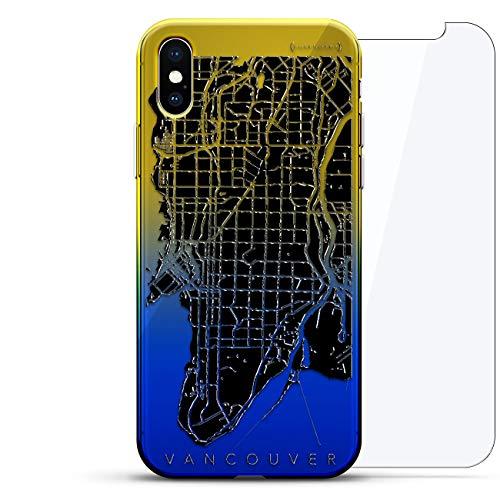 Karten: Vancouver Streets Map - Luxendary Gradient Series 360 Bundle: Transparente ultradünne Silikonhülle + gehärtetes Glas für iPhone XS Max (16,5 cm) in Sunrise Blue