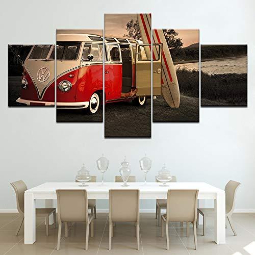 alicefen Opere d'Arte Moderna Casa Wall Art Deco Nessun Quadro Film HD Stampare 5 Pezzo Volkswagen Autobus Dipinto su Tela Poster Vintage Auto