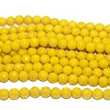 #2: Beadsnfashion Jewellery Making Faceted Glass Round Beads Yellow 10 mm, Pack of 1 String of 13 Inch
