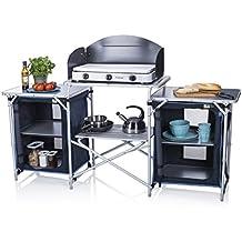 Campart Cocina de camping Málaga Travel KI-0732 – Con paravientos – Dos compartimentos de almacenamiento