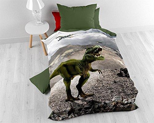 Bettwäsche Baumwolle Sleeptime Kinder Dinosaurier, 135cm x 200cm, Mit 1 Kissenbezüge 80cm x 80cm, Grün