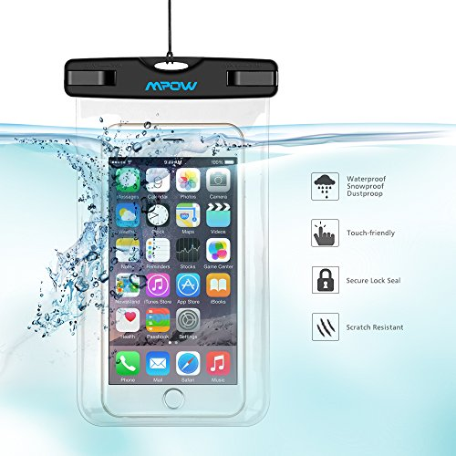 Waterproof Case, Mpow Universal Durable Underwater Case Dry Bag, Touch Responsive Transparent Windows,Watertight Sealed System for iPhone 6s/6s plus/5/5s/SE and Other Smartphone for Boating/Hiking/Swimming/Diving