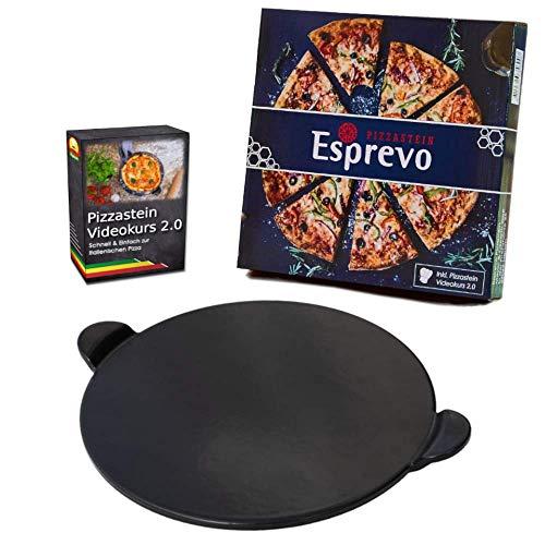 Esprevo Pizzastein rund Ø 33cm aus veredeltem Cordierit | Steinofen-Pizza für Gasgrill & Backofen | inklusive Videokurs