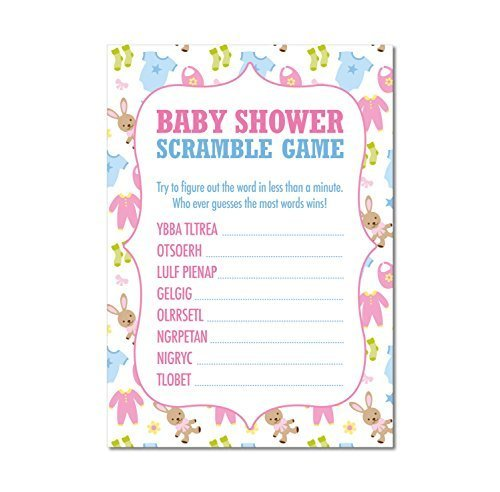 16 x Baby Shower WORD SCRAMBLE Game Cards Boys Girls Babies Favours Keepsake by Ezstickers
