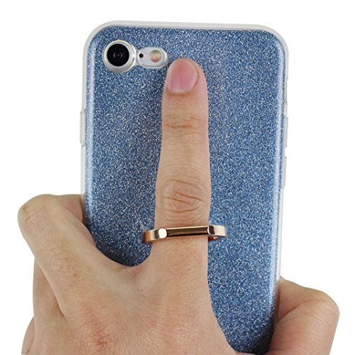 Coque iPhone 7, Moon mood 2in1 Hybrid Cover avec 360 Degree Rotating Grip Finger Ring Case Bling Gliter Sparkle Briller Coque [PP Détachable Bling Paper] pour iPhone 7 Paillette Anti Choc Housse Etui  Bleu
