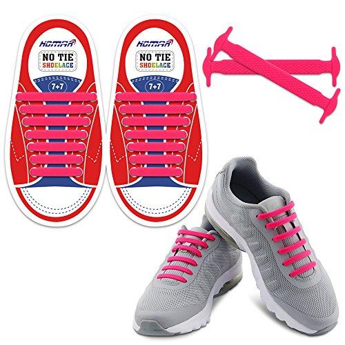Homer Kein Tie Schnürsenkel in 13 Farben für Kinder - Best in Sport-Fan Schnürsenkel - Elastische Schnürsenkel Schalten Sie Ihre Schuhe in Slip-on Perfekt für Sneaker Stiefel Oxford Laufschuhe - Pink