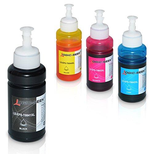 Photo Magenta Ink Tank (4 Tinten für Epson EcoTank L300 L350 L355 L365 L455 L550 L555 L565 L655 L100 L200 ET2550 ET2500 ET4500 ET4550 T6641 T6642 T6643 T6644, je 70ml)