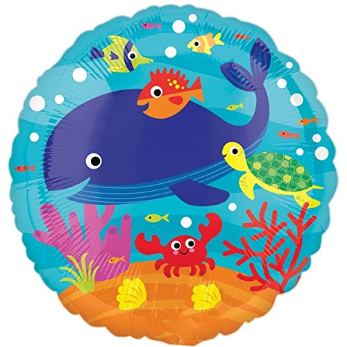 paduTec Folienballon Ballon Luftballon - Unterwasserwelt Tiere - geeignet zur befüllung mit Luft oder Helium Gas - UNGEFÜLLT (Anleitung Ballon-tiere)