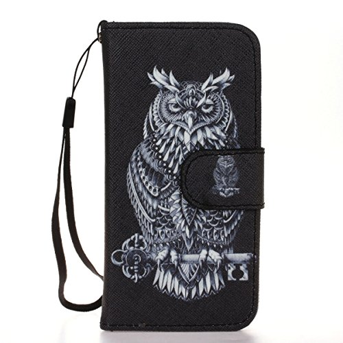 iPhone SE Wallet Case Cover,iPhone 5S Coque - Felfy Flip-style Magnetic Closure Étui Portefeuille Housse Book Style Full Body Coloré Peint Motif Dragonne Portefeuille Lanyard PU Cuir Coque Etui(Paume) Noir Owl