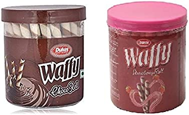 Sastibasket Dukes Waffy Rolls, Strawberry, Chocolate 250g - 1 (Pack of 2) + and 3 Pouches of Rajnigandha Silver Pearls