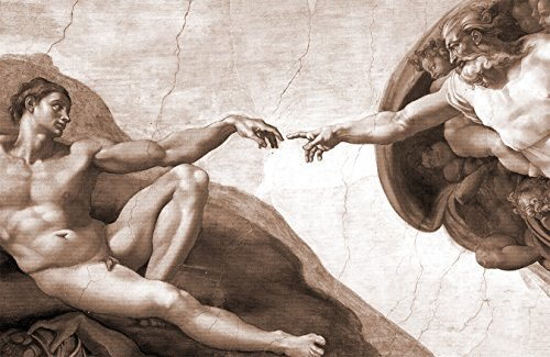 Bilderdepot24 Carta da Parati in TNT Fotomurali Michelangelo - Antichi Maestri La creazione di Adamo - Seppia 200x130 cm - Pasta Incluso - Direttamente dal Produttore