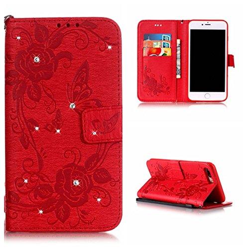 Voguecase Pour Apple iPhone 7 Plus Coque, Etui Housse Cuir Portefeuille Case Cover (Papillon IV--Diamant-Rose)de Gratuit stylet l'écran aléatoire universelle Papillon IV--Diamant-Rouge