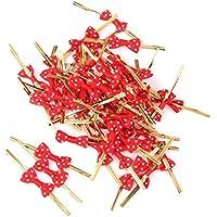 Hilai Aprox. 50 lazos rosas para regalo envolver corbatas metálicas para fiestas, bautizos, galletas, caramelos, color rojo